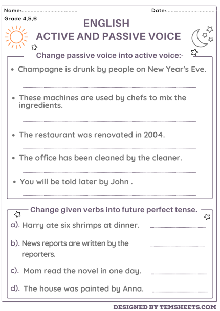 Active and Passive Worksheets